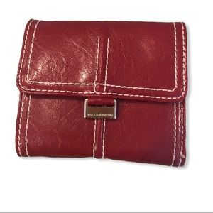 Liz Claiborne red leather trifold wallet